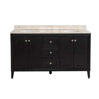 Austell 61 in. W x 22 in. D x 38.3 in. H Vanity in Black with Stone Effects Vanity Top in Dune with White Basin