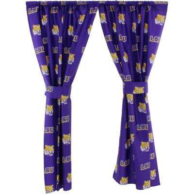 42 in. W x 63 in. L LSU Tigers Cotton With Tie Back Curtain in Purple   (2 Panels)