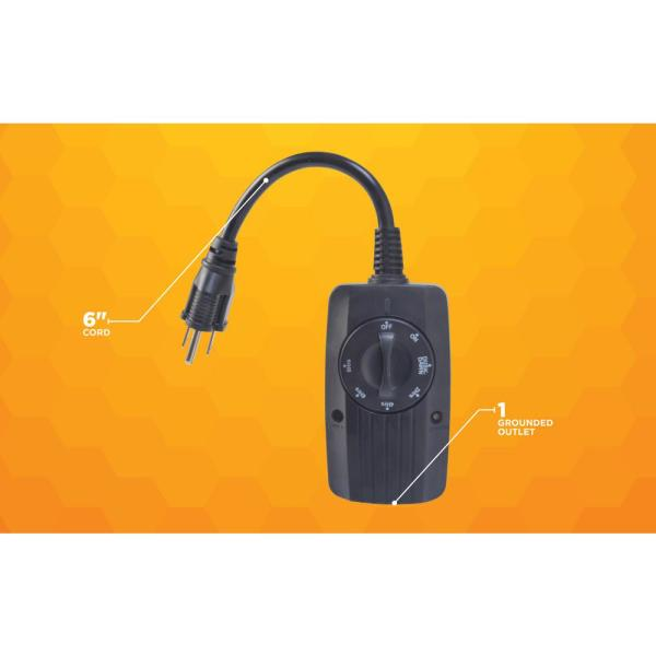 Woods 8 3 Amp 24 Hour Outdoor Plug In, Outdoor Timer For Lights Home Depot