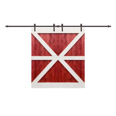 24 in. x 84 in. Pre Assemble Red and White Series Stained Wood Interior Double Sliding Barn Door with Hardware Kit