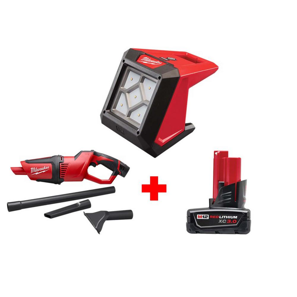 Milwaukee M12 12-Volt Lithium-Ion Cordless 1000 Lumens ROVER LED Compact Flood Light with M12 Compact Vacuum and 3.0 Ah Battery
