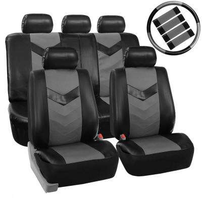 PU Leather 21 in. x 21 in. x 2 in. Airbag Compatible Seat Covers with Accessory Set