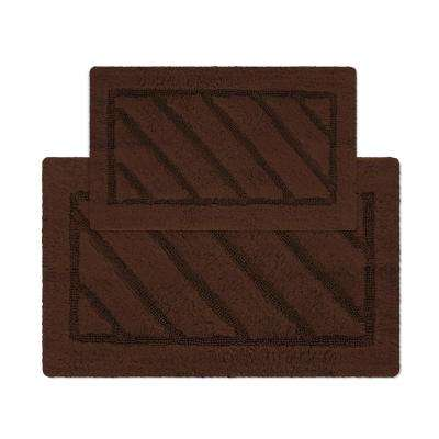 Ruby Collection 17 in. x 24 in. and 20 in. x 31 in. Heavyweight Hand Tufted Cotton Bath Rug Mat Set in Brown
