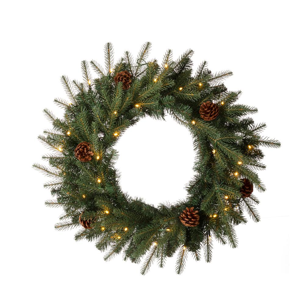 Glitzhome 24 In D Pre Lit Greenery Pine Cone Artificial Christmas Wreath With Warm White Led Light 2010000007 The Home Depot