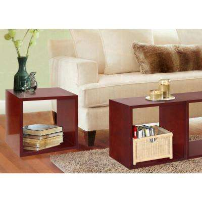 Cognac Decorative Wood Storage Floor Cube (Set of 2)