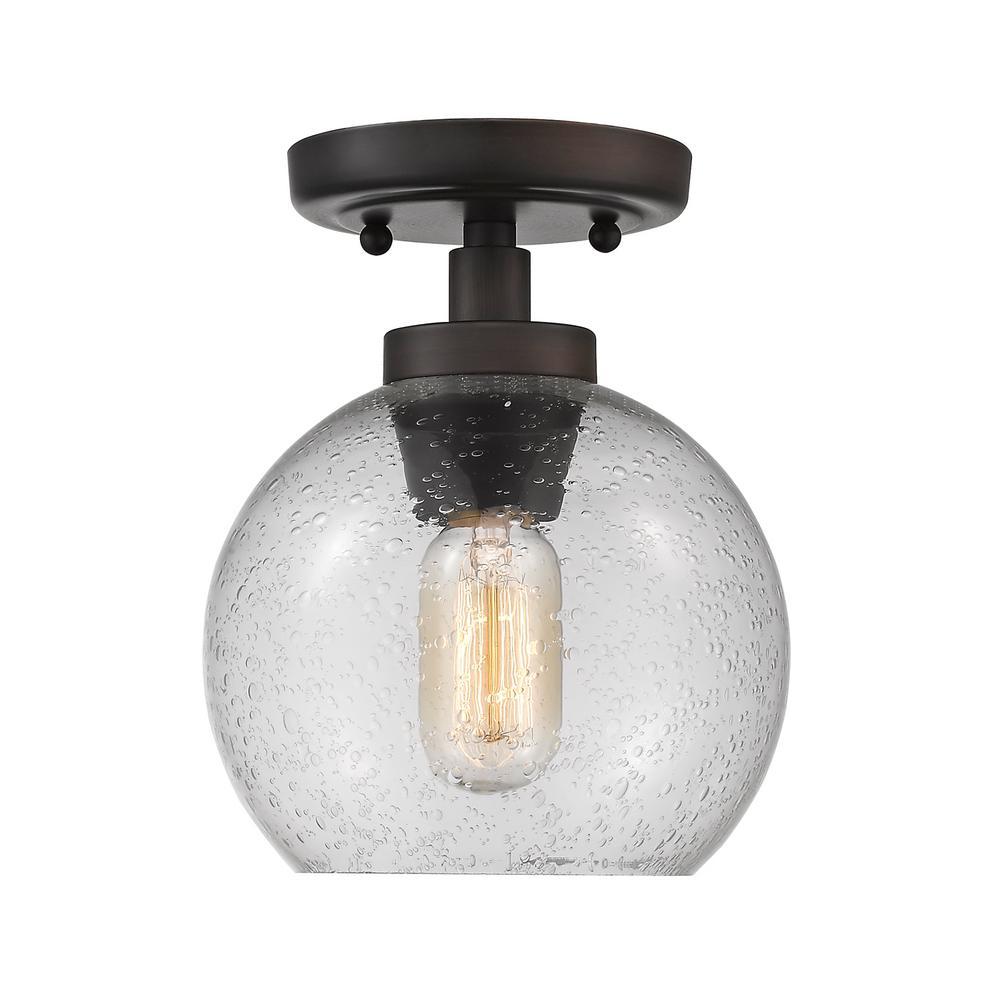 Galveston 1-Light Rubbed Bronze Flushmount Light