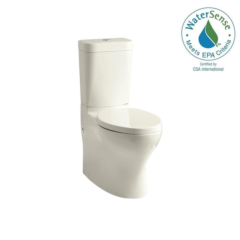 KOHLER Persuade Circ 2-piece 1.0 or 1.6 GPF Dual Flush Elongated Toilet in Biscuit