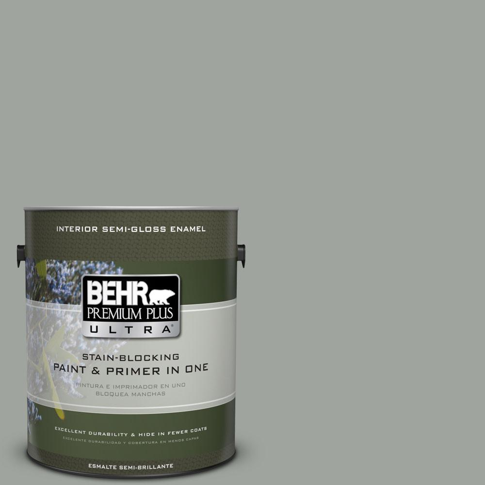 1-gal. #710F-4 Sage Gray Semi-Gloss Enamel Interior Paint