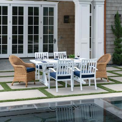 St. Martin White 7-Piece Wicker and Aluminum Outdoor Dining Set with Blue Cushions