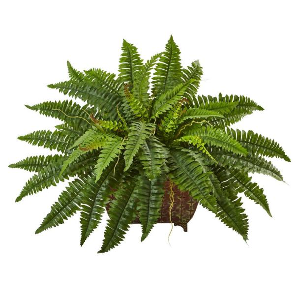 Nearly Natural 23 in. Boston Fern in Metallic Planter 6933