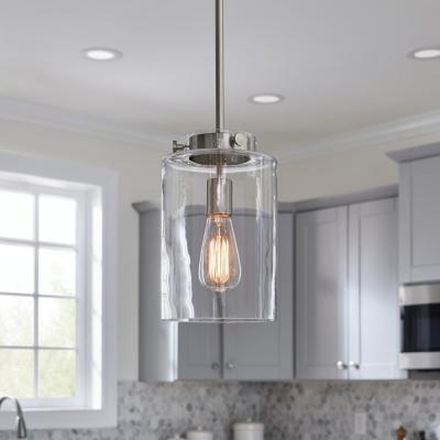Mullins 1-Light Brushed Nickel Mini Pendant with Clear Glass Shade