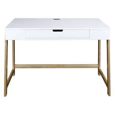 Neorustic White and Natural Smart Desk with USB Ports