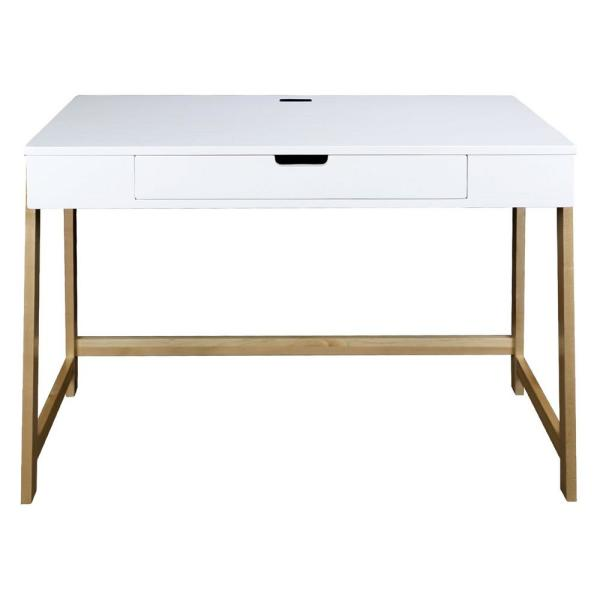American Trails Neorustic White and Natural Smart Desk with USB Ports