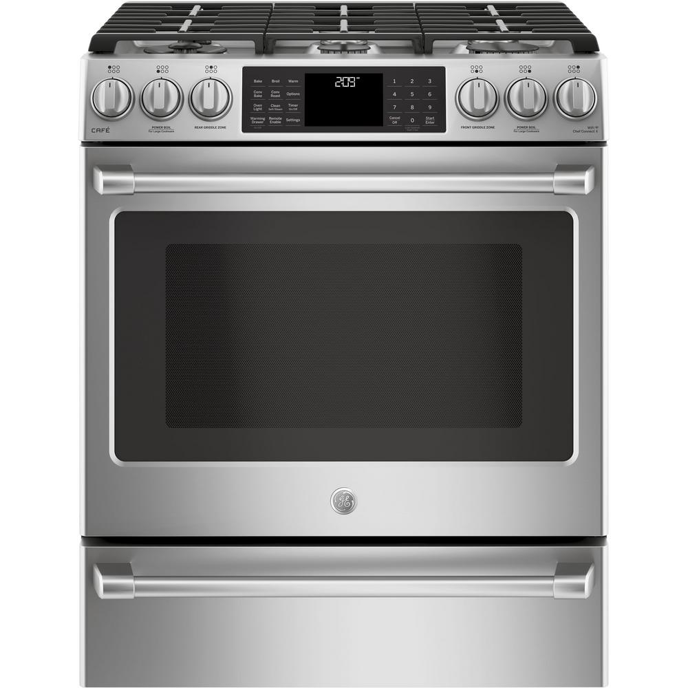 Cafe 5.7 cu. ft. Slide-In Smart Oven Dual Fuel Range with