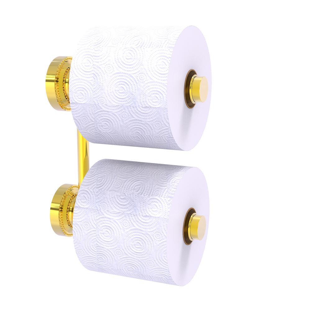 Dottingham 2-Roll Reserve Roll Toilet Paper Holder in Polished Brass