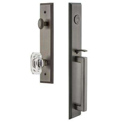 Carre 2-3/8 in. Backset Antique Pewter 1-Piece Door Handleset with D-Grip and Baguette Clear Crystal Knob