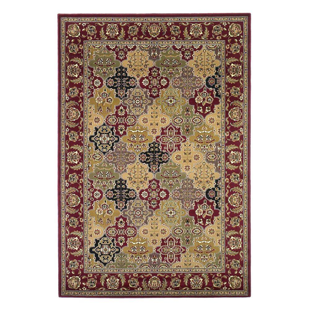 Kas Rugs Panel Kashan Red 3 ft. 3 in. x 4 ft. 11 in. Area Rug