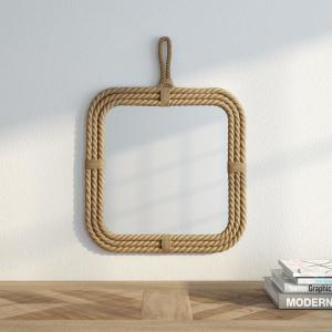 17 in. H x 23 in. W Square Rope Wrapped Mirror