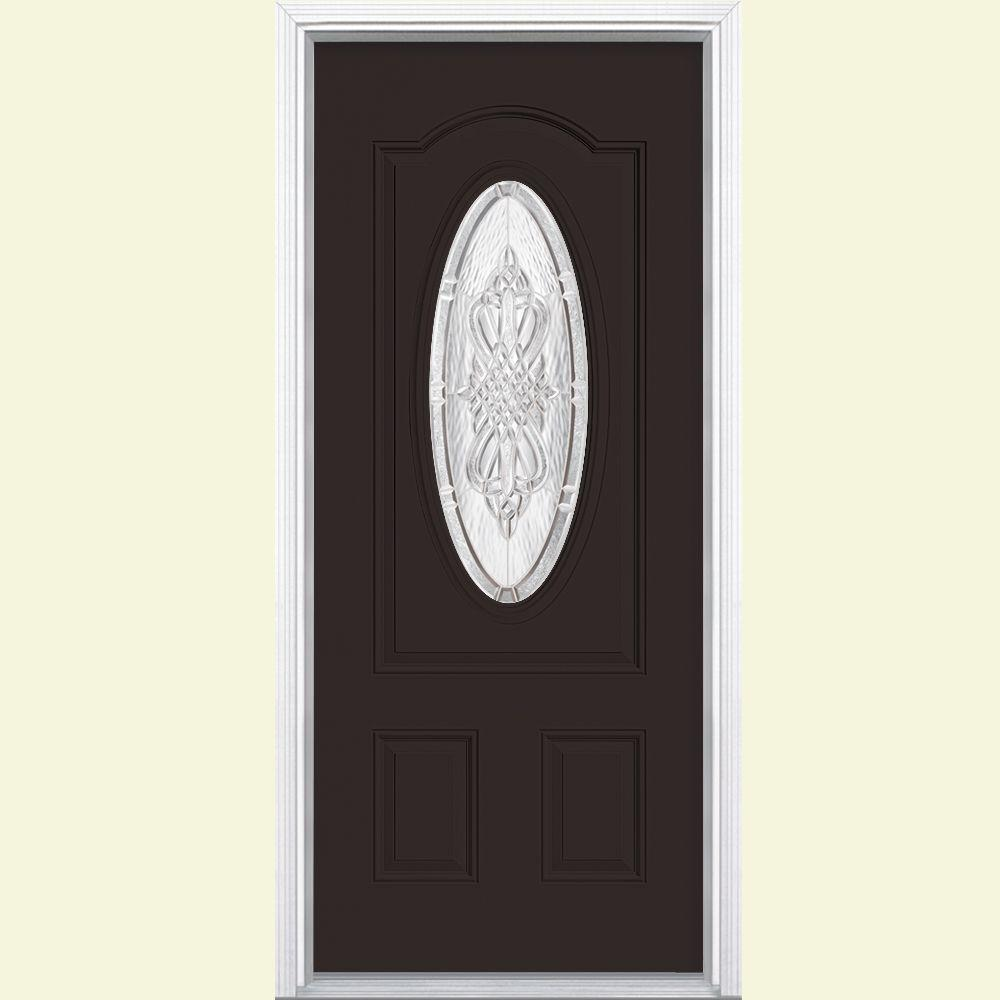 Masonite 36 in. x 80 in. New Haven 3/4 Oval Lite Right-Hand Inswing Painted Steel Prehung Front Door with Brickmold