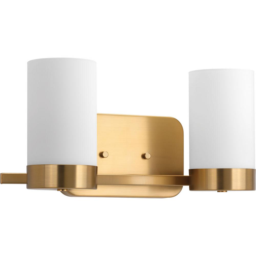 Elevate 2 Light Brushed Bronze Vanity Light With White Glass Shades