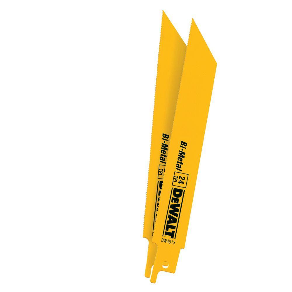 DEWALT 6 in. 24 Teeth per in. Straight Back Bi-Metal Reciprocating Saw Blade (2-Pack)