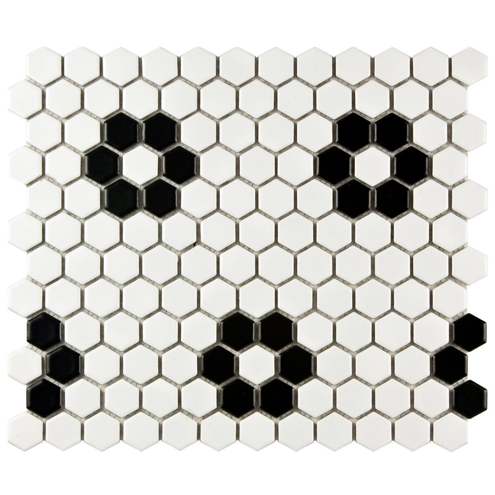 Metro Hex Matte White With Flower 10 1 4 In X 11 3 5 Mm Porcelain Mosaic Tile 8 56 Sq Ft Case