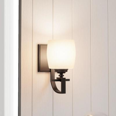 1-Light Bronze Sconce with Scavo Glass Shade