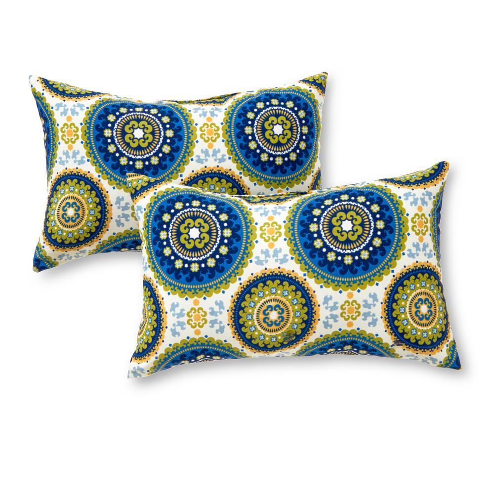 Greendale Home Fashions Summer Medallion Lumbar Outdoor Throw Pillow (2-Pack)