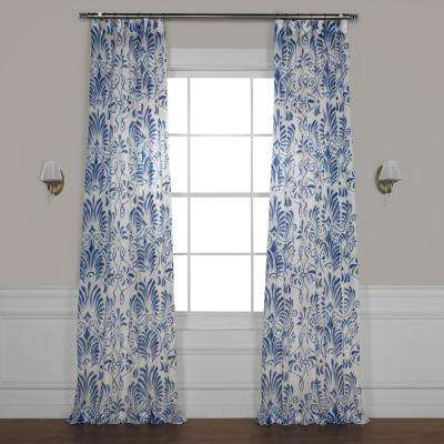 Xenia Blue Printed Sheer Curtain - 50 in. W x 108 in. L