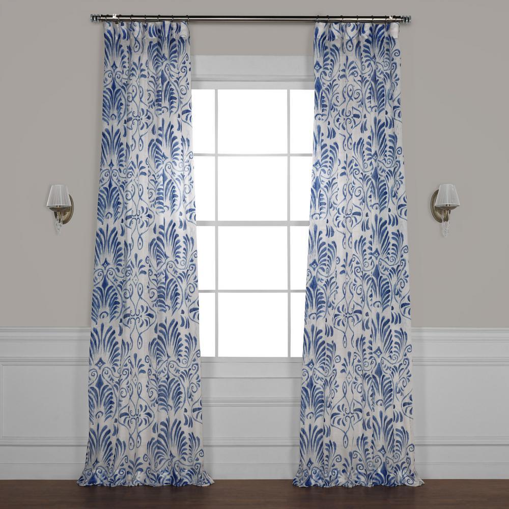 Xenia Blue Printed Sheer Curtain - 50 in. W x 84 in. L
