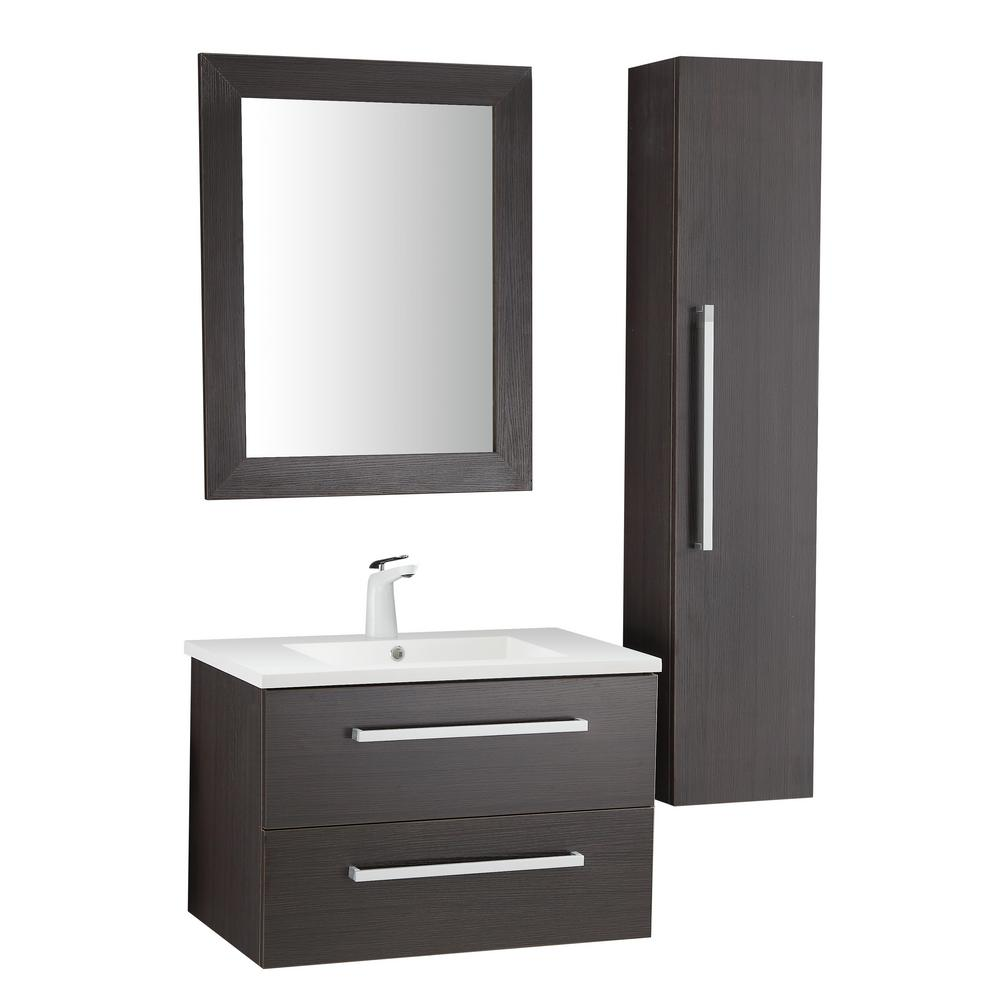 ANZZI Conques 30 in. W x 20 in. H Bath Vanity in Rich Umber with Ceramic Vanity Top in White with White Basin and Mirror