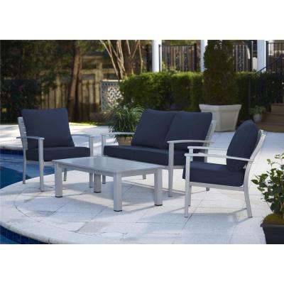 Blue Veil 4-Piece Brushed Aluminum Patio Conversation Set with Coffee Table and Navy Blue Cushions