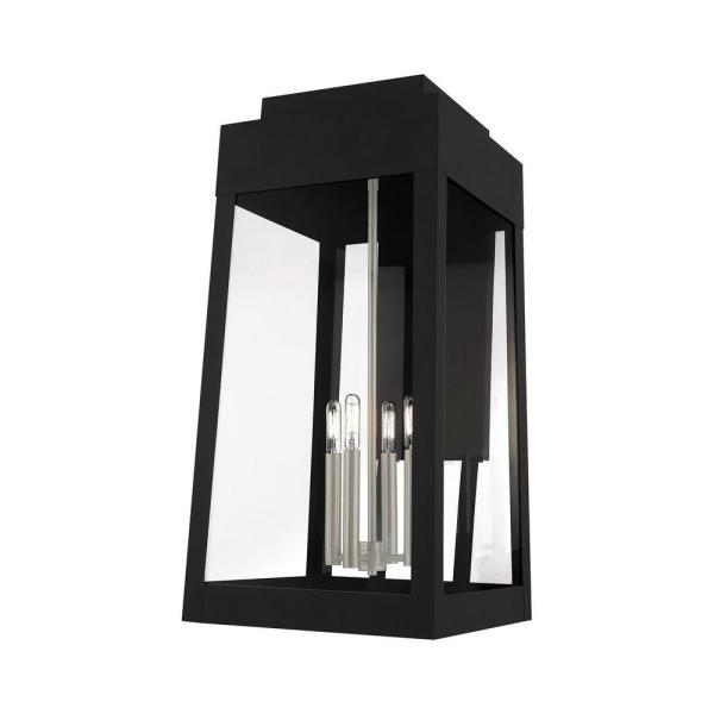 Oslo Extra Large 4-Light Black Outdoor Wall Lantern