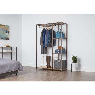 20 in. D x 45 in. W x 72 in. H Bronze Anthracite Modular Bamboo Closet System