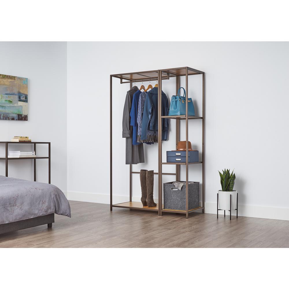 20 in. D x 45 in. W x 72 in. H Bronze Anthracite Modular Bamboo Closet System