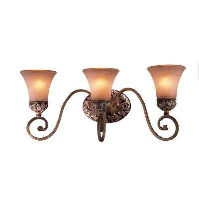 Salon Grand 3-Light Florentine Patina Wall Bath Light