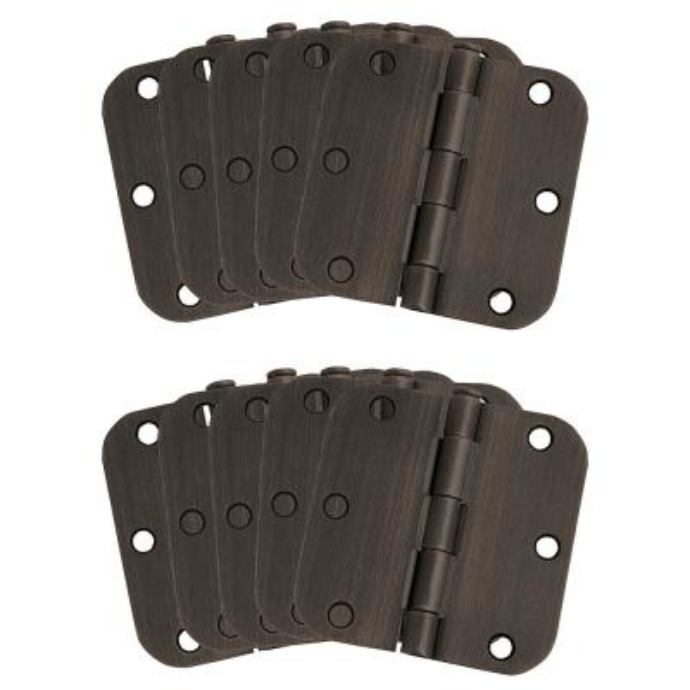 3-1/2 in. x 5/8 in. Radius Oil Rubbed Bronze Door Hinge Value Pack (10 per Pack)