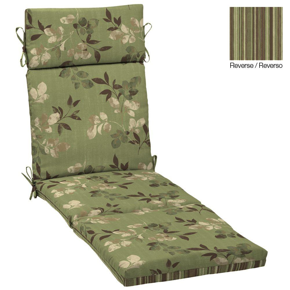 Hampton Bay Reversible Parson Outdoor Chaise Cushion-DISCONTINUED