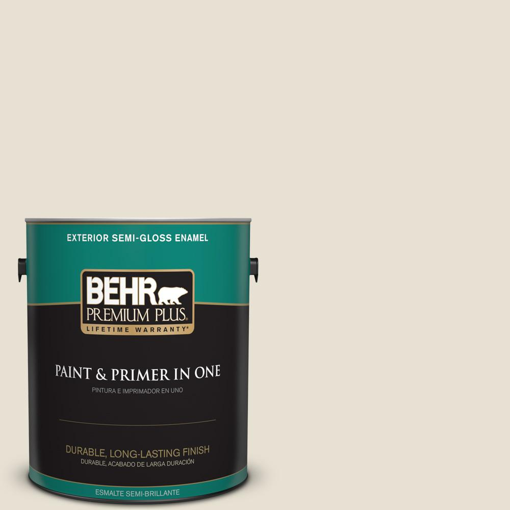 1 gal. #YL-W14 Off White Semi-Gloss Enamel Exterior Paint and Primer