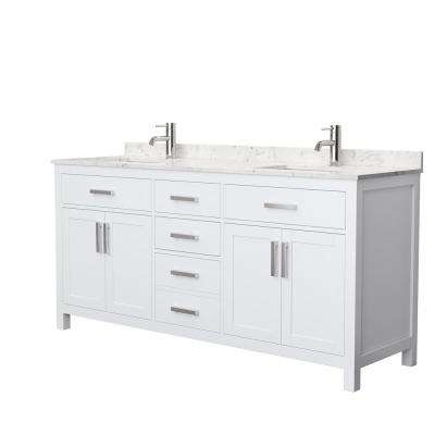 Beckett 72 in. W x 22 in. D Double Bath Vanity in White with Cultured Marble Vanity Top in Carrara with White Basins