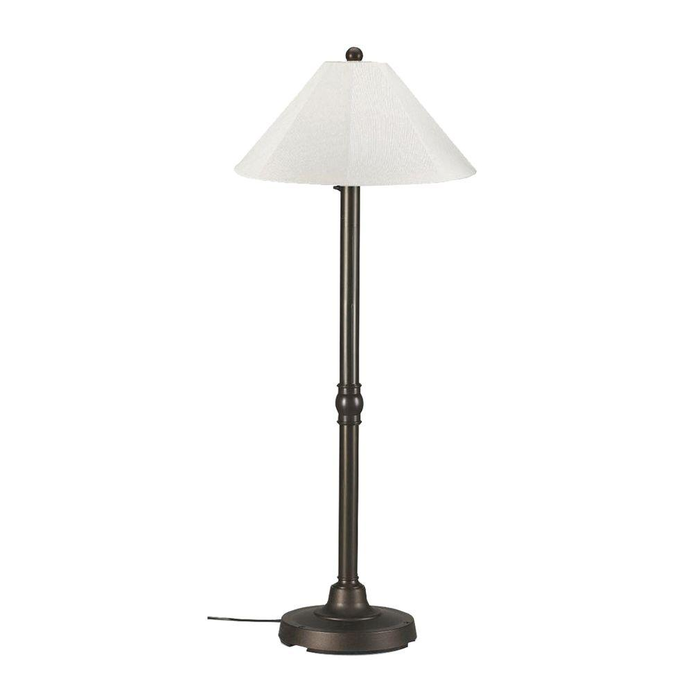 Outdoor floor lamps with heavy bases - Outdoor Bronze Floor Lamp With Natural Linen