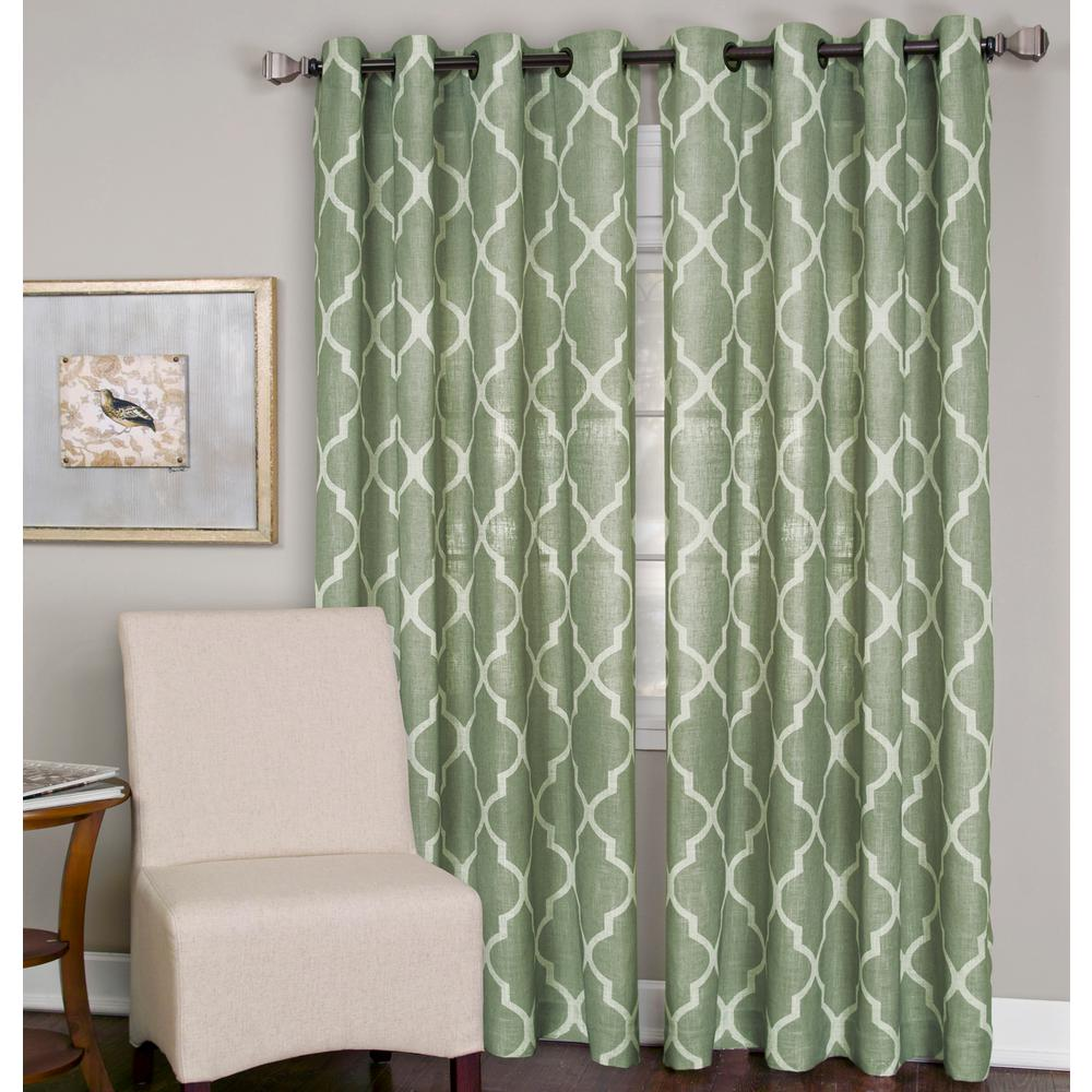 elrene medalia spa green grommet top window curtain panel 52 in w
