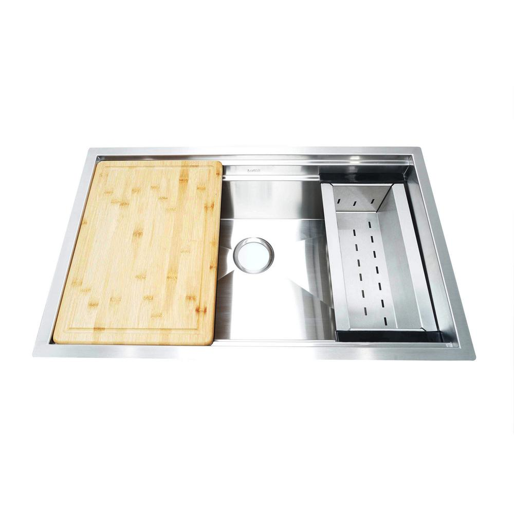 Boann Undermount Stainless Steel 32 In Single Bowl Kitchen Sink With Sliding Cutting Board And