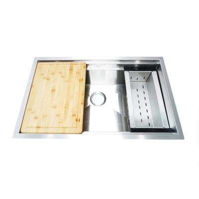 Undermount Stainless Steel 32 in. Single Bowl Kitchen Sink with Sliding Cutting Board and Colander