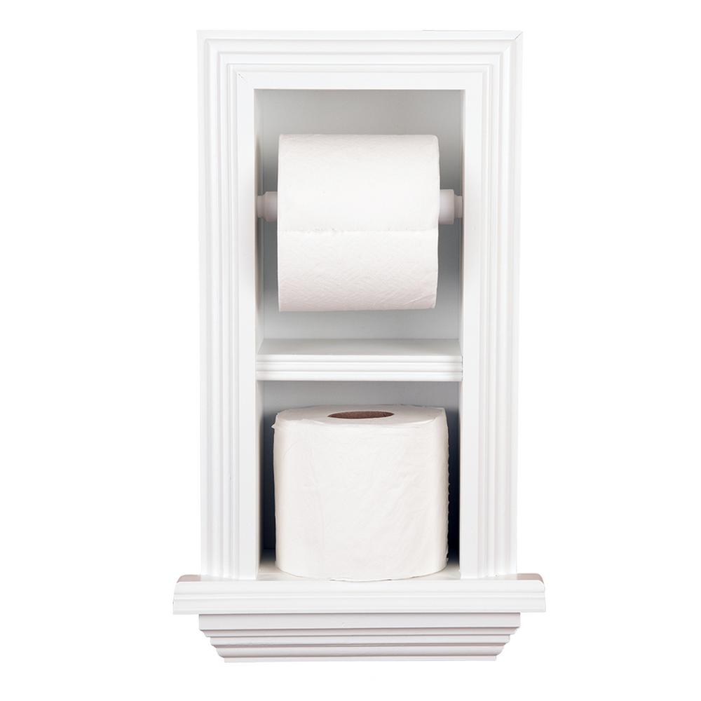 Newton Recessed Toilet Paper Holder 18 In White Newport With Ledge Frame
