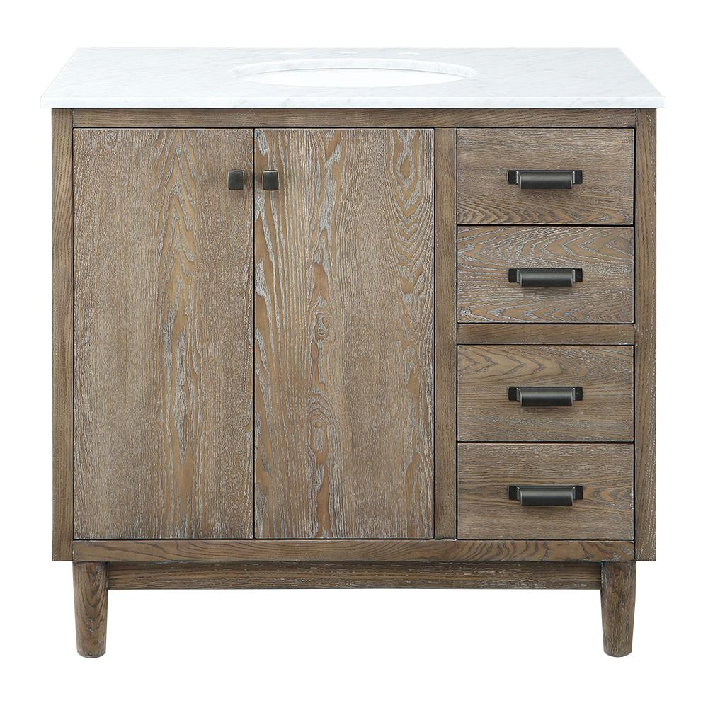 Home Decorators Collection Brisbane 37 in. W x 22 in. D Bath Vanity in Weathered Grey Oak with Natural Marble Vanity Top in White