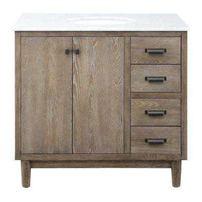 Brisbane 37 in. W x 22 in. D Bath Vanity in Weathered Grey Oak with Natural Marble Vanity Top in White