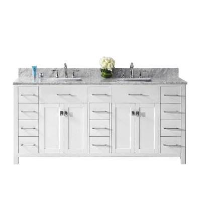 Caroline Parkway 72 in. W Bath Vanity in White with Marble Vanity Top in White with Square Basin