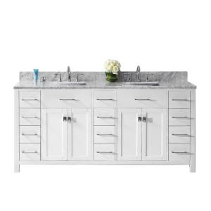 Virtu USA Caroline Parkway 72 inch W x 22 inch D Double Vanity in White with Marble Vanity Top in White with White Basin by Virtu USA