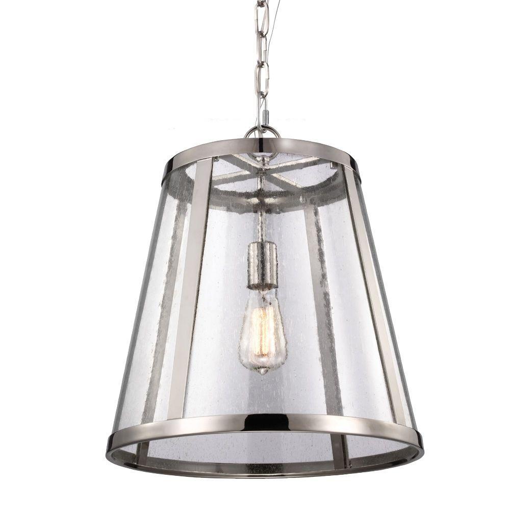Feiss Harrow 1-Light Polished Nickel Pendant-P1289PN